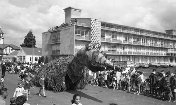 A dragon float in the Rotorua Santa Parade