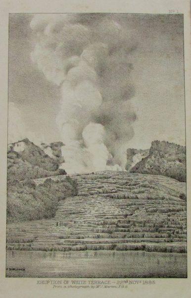 Eruption of White Terrace, John Hugh Boscowan (1851-1937), 22 November 1885, Rotorua Museum Te Whare Taonga o Te Arawa (A-79)