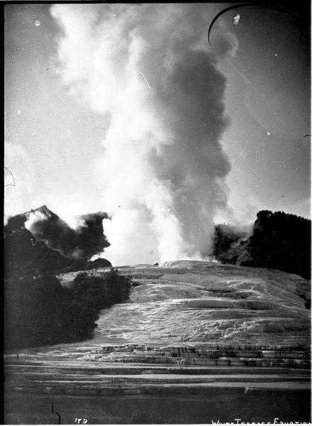 White terrace in eruption, 22 November 1885, Josiah Martin (1843-1916), Rotorua Museum Te Whare Taonga o Te Arawa (2007.73.100) Original held at Alexander Turnbull Library.