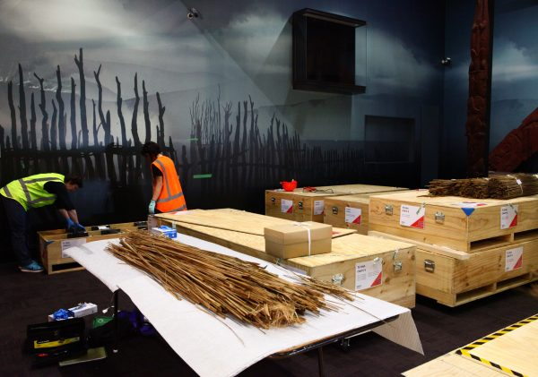 Seventeen crates were required to pack up Te Oha, 2018. The raupo (thatching) and pātaka panels