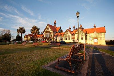 Rotorua Museum at dusk. Courtesy Fullframe Photography