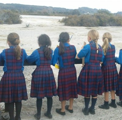 St Marys Students inspect Sulphur Point. Rotorua Museum