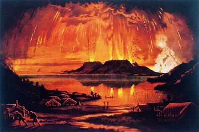 Charles Blomfield. Mt Tarawera in Eruption June 10 1886. Chromolithograph of oil painting printed by A. D. Willis, Wanganui in 1886. Rotorua Museum Te Whare Taonga o Te Arawa.