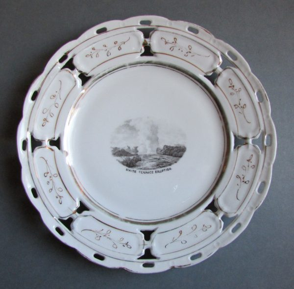 Plate with image of White Terrace Eruption, date unknown, maker unknown, Rotorua Museum Te Whare Taonga o Te Arawa (2011.63.3)